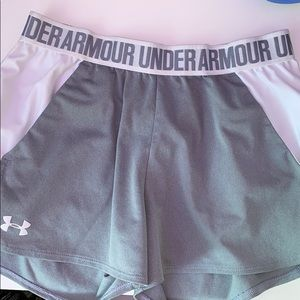 Grey and white under armour shorts